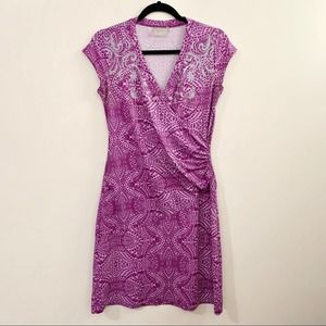 ATHLETA Paisley Nectar Cap Sleeve Faux Wrap Dress